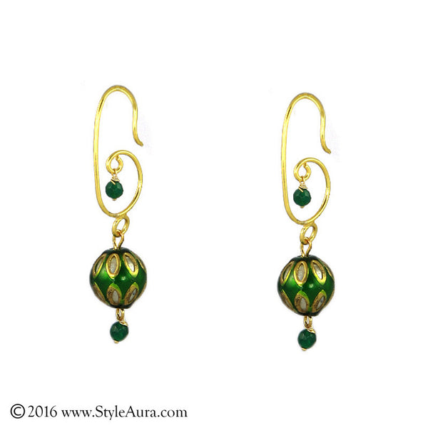 Meenakari Green Earring
