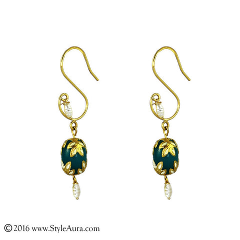 Meenakari Blue Green Agate Earring