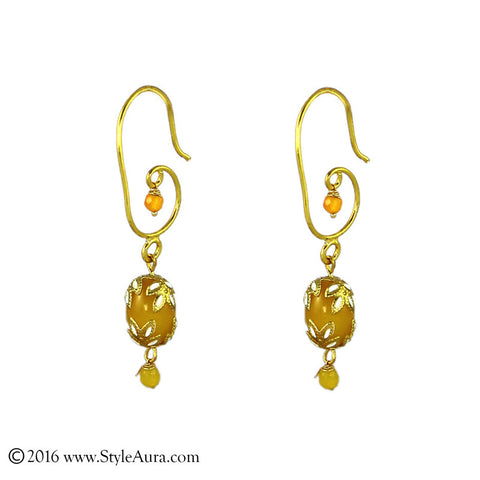 Meenakari Yellow Agate Earring
