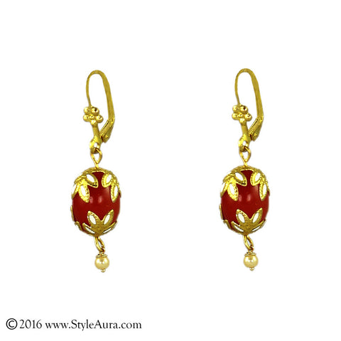 Meenakari Orange Red Agate Earring