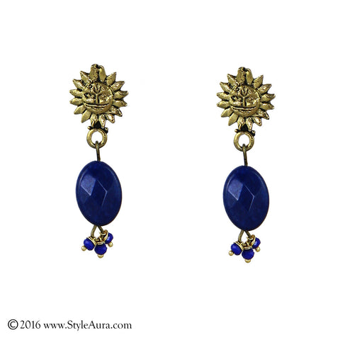 Sun God Blue Agate Earring