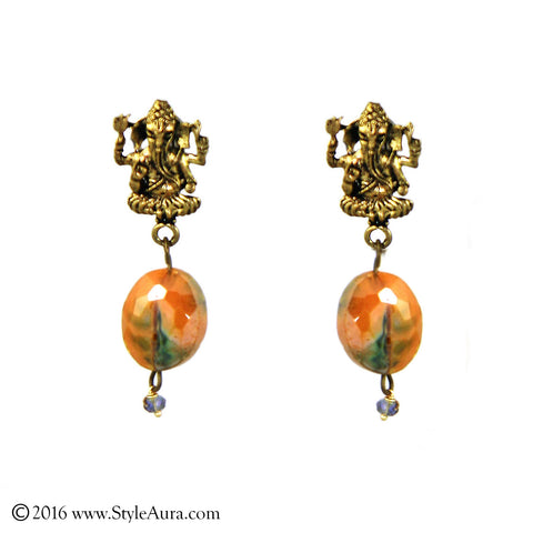 Ganesha Yellow Green Crystal Drop Earring