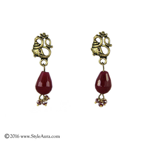 Om Ruby Drop Earring