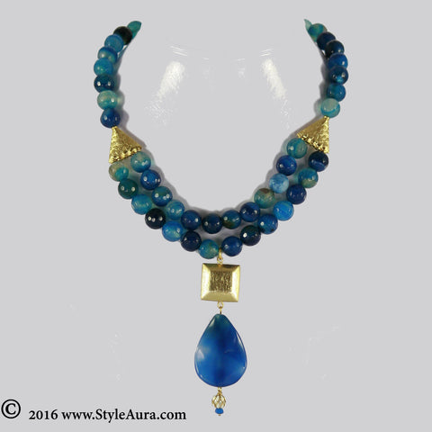 Shaded Blue Onyx two layer Choker with Gold plated square bead and Blue Natural Amber stone finished with small Meenakari drop 1