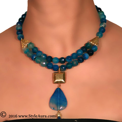 Shaded Blue Onyx two layer Choker with Gold plated square bead and Blue Natural Amber stone finished with small Meenakari drop 2