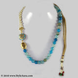 Shaded Blue Onyx with side Kundan Meenakari pendant and Pearl Chain and micro plated Gold bead 1
