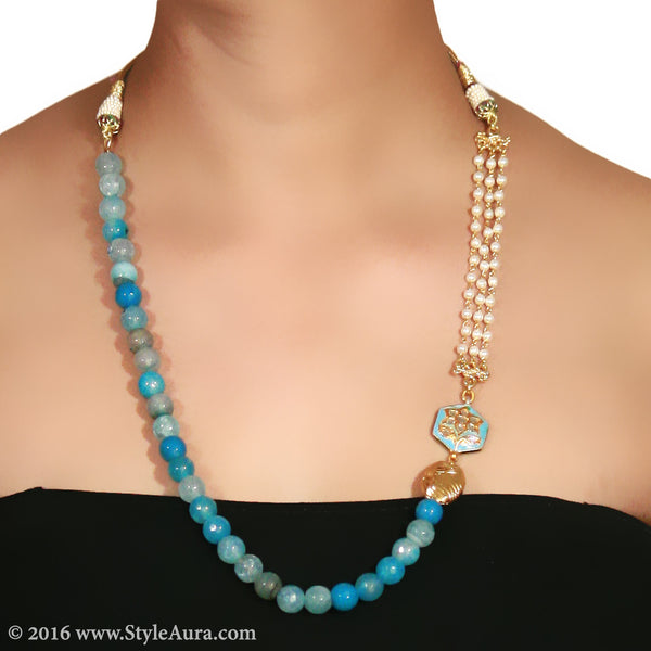 Shaded Blue Onyx with side Kundan Meenakari pendant and Pearl Chain and micro plated Gold bead 2