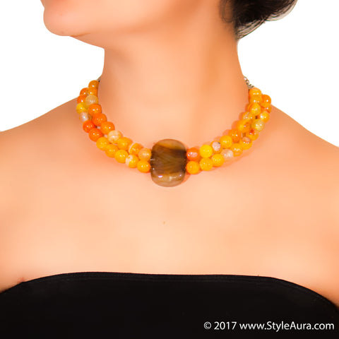 StyleAura - Shaded Brown Agate choker with Shaded Orange Onyx