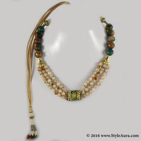 Shaded Brown and Green Onyx three layer Choker with center delicate Kundan Meenakari pendant 1