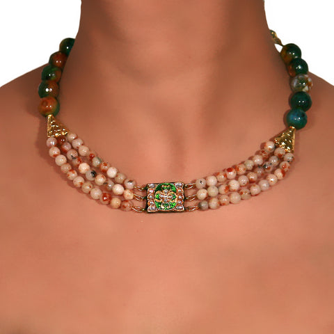 Shaded Brown and Green Onyx three layer Choker with center delicate Kundan Meenakari pendant 2