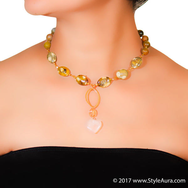 StyleAura - Shaded Green Agate and Onyx necklace with Rose Quartz and Gold crystal in Gold loop