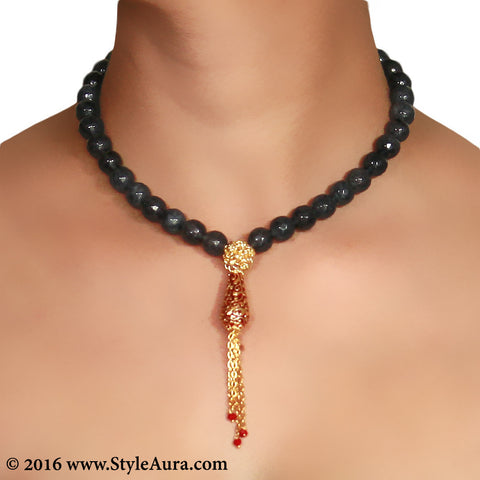Shaded Grey Black Onyx with Gold mesh and Meenakari pendant with chain finish 2