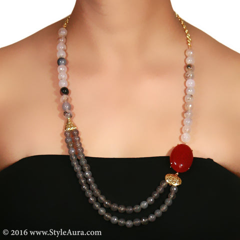 Shaded Off-white and Grey Onyx and Red side Agate 2