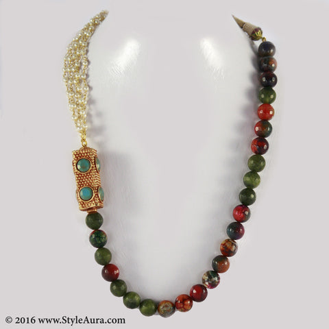 Shaded Onyx and Pearl bunch long with side Gheru bead in Jade stone setting 1
