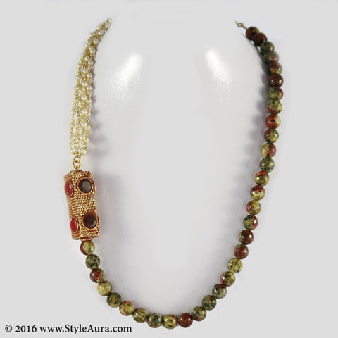 Shaded Onyx and Pearl bunch long with side Gheru bead in multi colour semi precious stone setting 1
