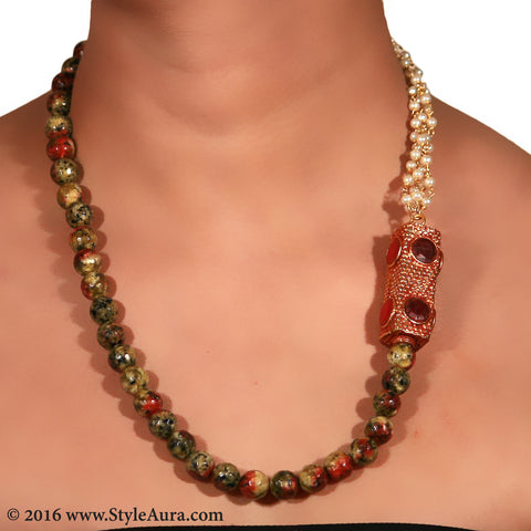 Shaded Onyx and Pearl bunch long with side Gheru bead in multi colour semi precious stone setting 2