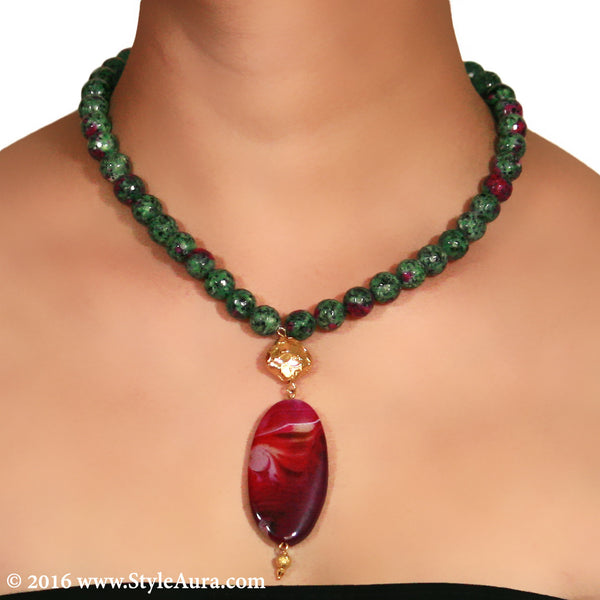 Shaded Onyx in Green and Magenta with micro plated Gold bead and Purple Pink natural Amber 2