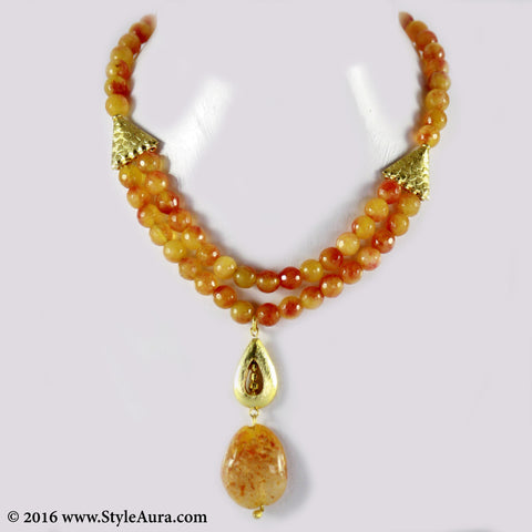 Shaded Orange Onyx two layer Choker with center micro plated Gold drop and Amber 1