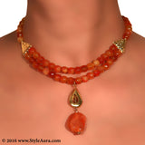 Shaded Orange Onyx two layer Choker with center micro plated Gold drop and Amber 2