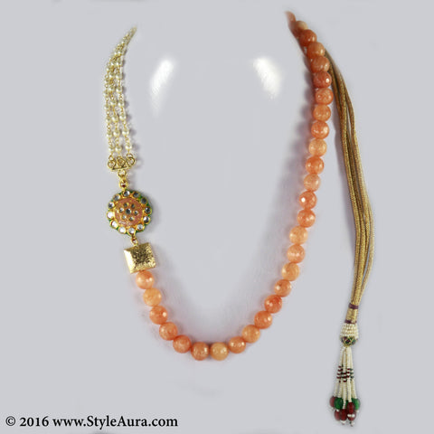 Shaded Peach Onyx with side Kundan Meenakari pendant and Pearl Chain and micro plated square Gold bead 1