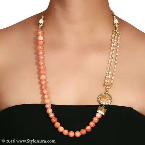 Shaded Peach Onyx with side Kundan Meenakari pendant and Pearl Chain and micro plated square Gold bead 2