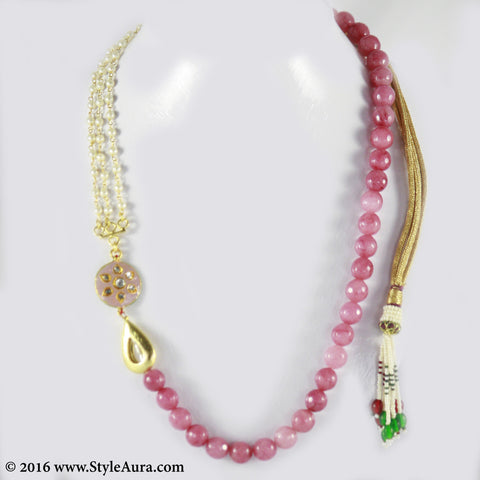 Shaded Pink Onyx with side Kundan Meenakari pendant and Pearl Chain and micro plated drop Gold bead 1