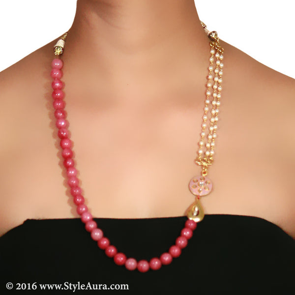 Shaded Pink Onyx with side Kundan Meenakari pendant and Pearl Chain and micro plated drop Gold bead 2