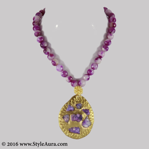 Shaded Purple Onyx with Druzy pendant on Gold plate and mesh 1