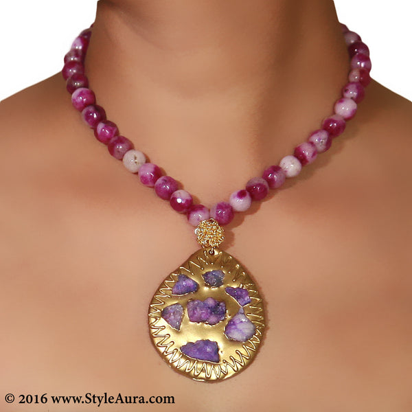 Shaded Purple Onyx with Druzy pendant on Gold plate and mesh 2
