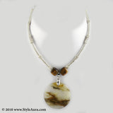 Silver colour delicate Hasli with Amber pendant 1