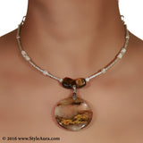 Silver colour delicate Hasli with Amber pendant 2