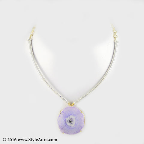 Silver colour delicate Hasli with Purple natural Agate in Gold frame 1