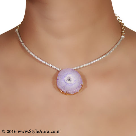 Silver colour delicate Hasli with Purple natural Agate in Gold frame 2