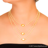 StyleAura - Three layer delicate Pearl necklace with Gold Baroque Pearls