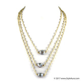 StyleAura - Three layer delicate Pearl necklace with Silver Baroque Pearls