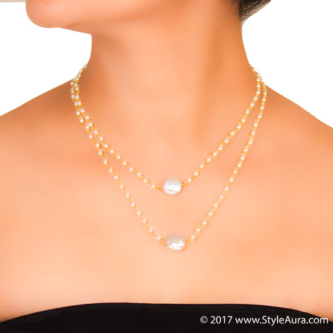StyleAura - Two layer delicate Pearl necklace with Silver Baroque Pearls