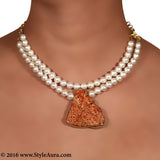 Two layered textured White Pearl Choker with center Brown natural Bhatti stone pendent 2
