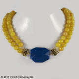 Yellow Onyx two layer Choker with Blue natural Agate with Copper attachments 1