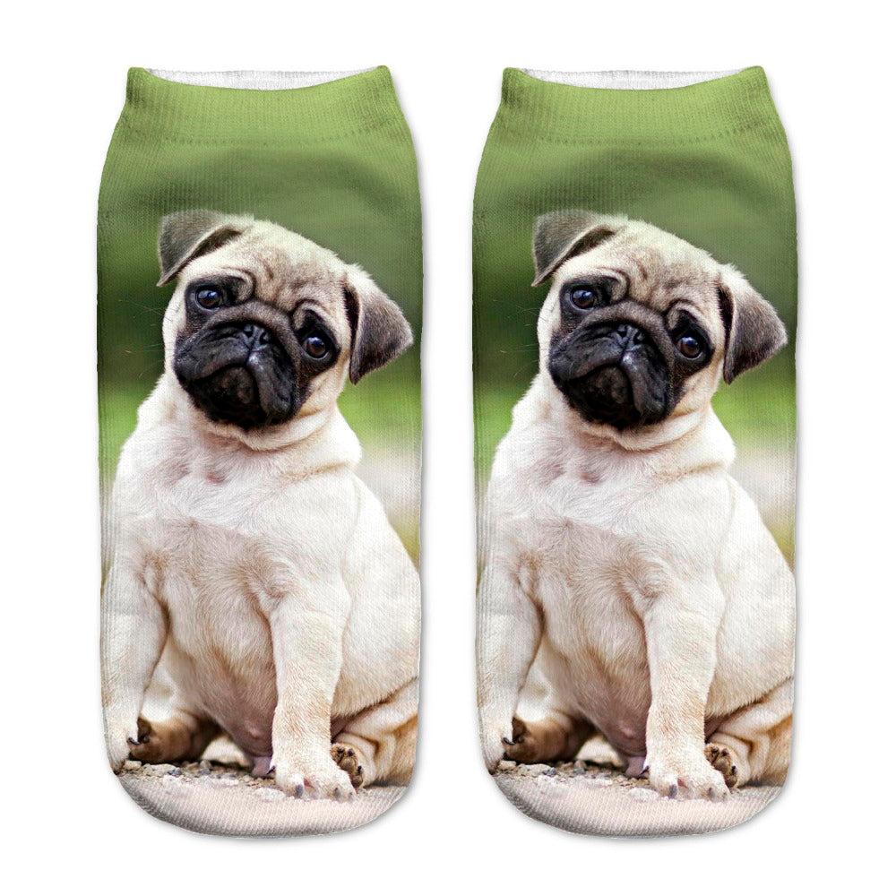 Hot 3D Printed Cotton Socks Pugs Unhappy Printed Casual Style 19cm Low Anklet Socks