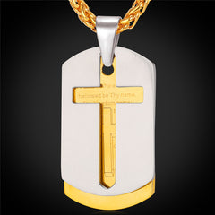 Bible Lords Prayer Cross Stainless Steel Necklaces & Pendants Gold Color