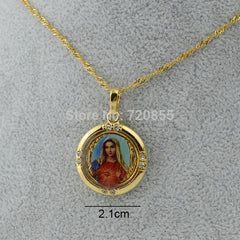 Lucky Gold Color Enamel Blessed Virgin Mary Pendant & Necklace