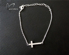 Jesus Stainless Steel Horizontal Sideways Cross Bracelets