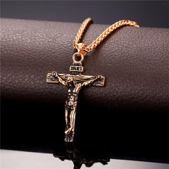 Crucifix Cross Necklace Gold/Rose Gold/Black Gun Color Stainless Steel Chain