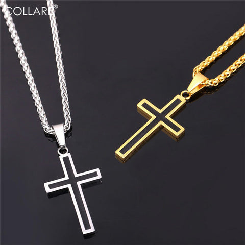 Cross Necklaces & Pendants Stainless Steel Pendant Gold Color Christian Gift Necklace