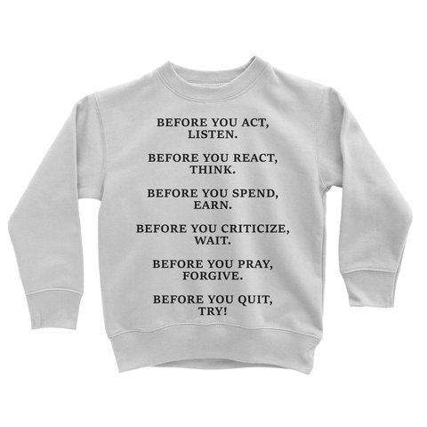 DON'T QUIT QUOTE 2 Kids Sweatshirt