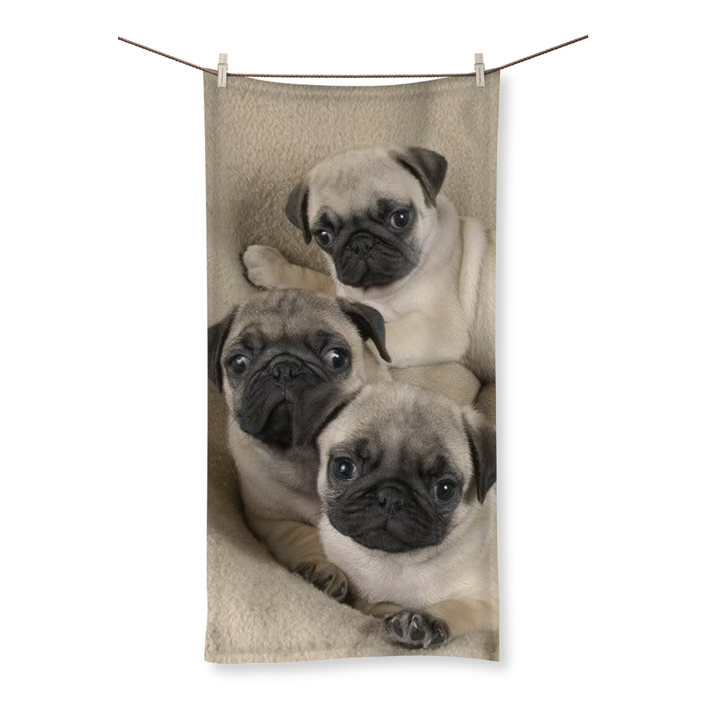 Cute Pugs Beach Towel