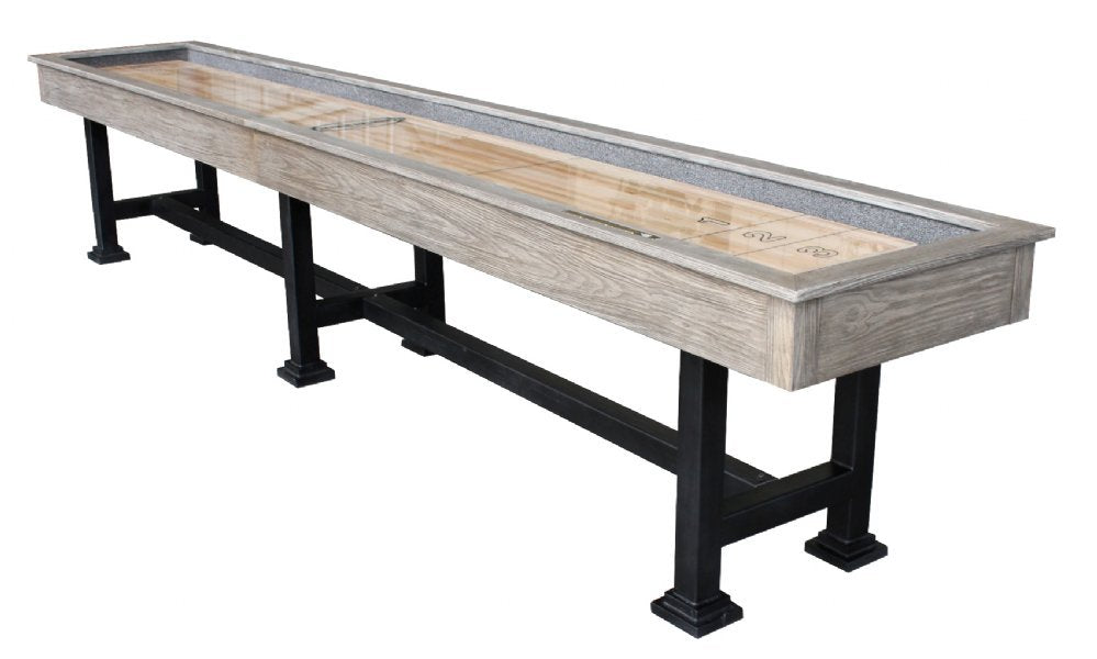 "Rustic Retro Berner ""The Urban"" 14' Shuffleboard Table in Silver Mist"