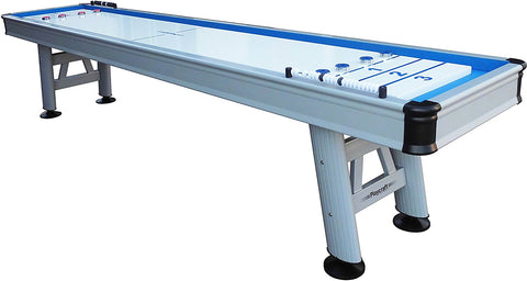 "Modern Playcraft Extera 9' Outdoor Shuffleboard Table in Silver w/20"" Playfield"
