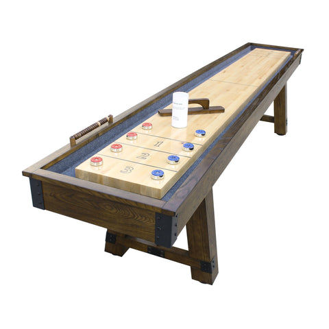 Carmelli Cheyenne 12' Shuffleboard Table in Rustic Oak Finish