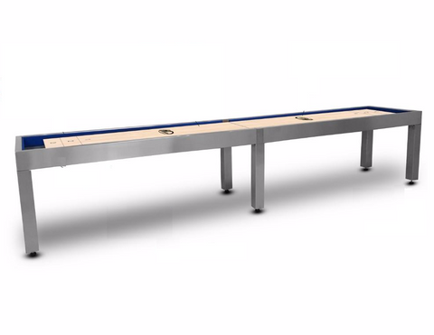 Modern Hudson Brushed Stainless Steel Shuffleboard Table 9'-22' w/Custom Finish Options